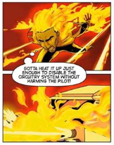 small press superhero comic the secret protectors in this image one of the heroes with flame powers is running and set fire to something