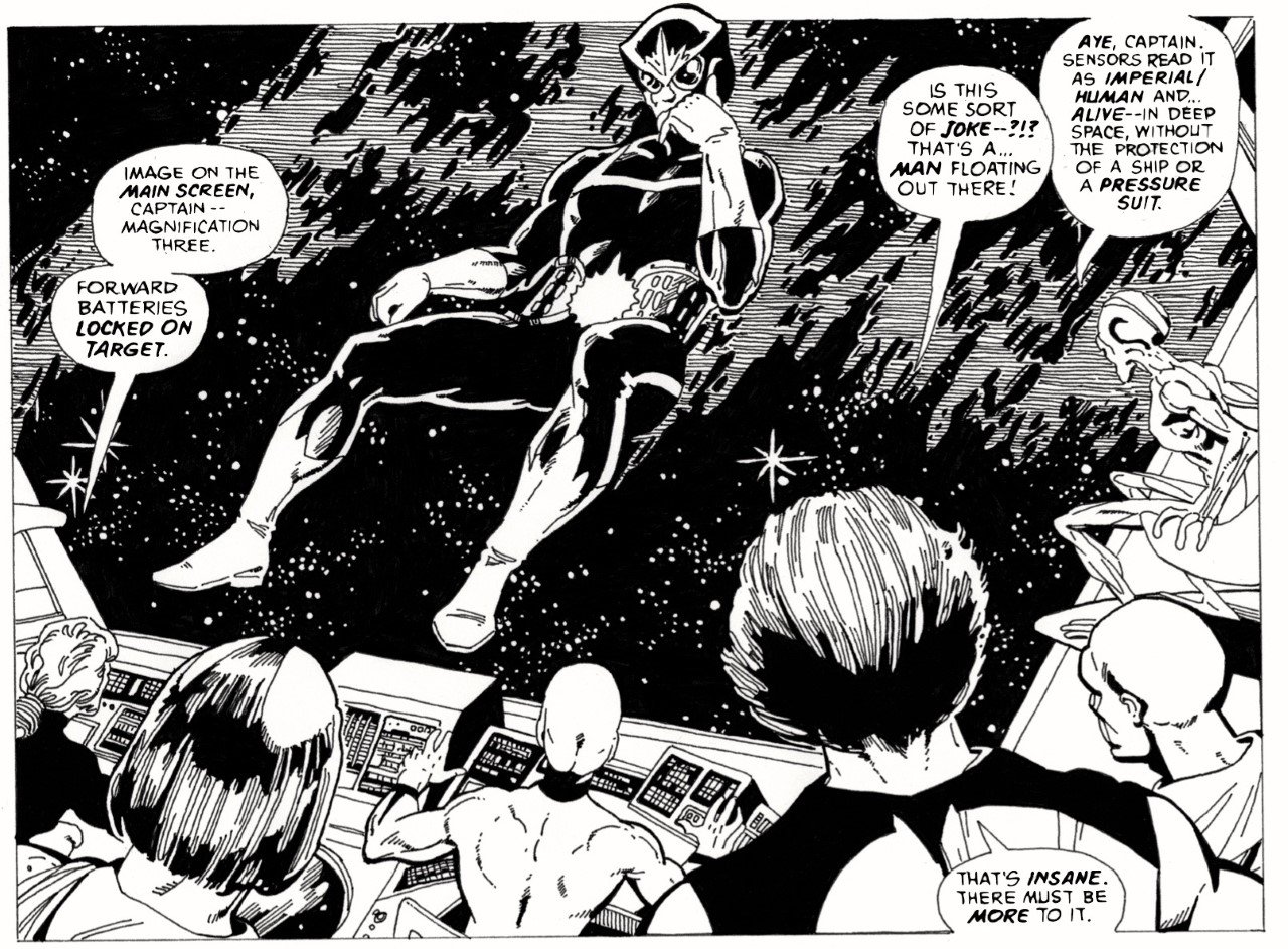 A reproduction of a panel from Claremont, Byrne and Austin's Star-lord drawn by Robin