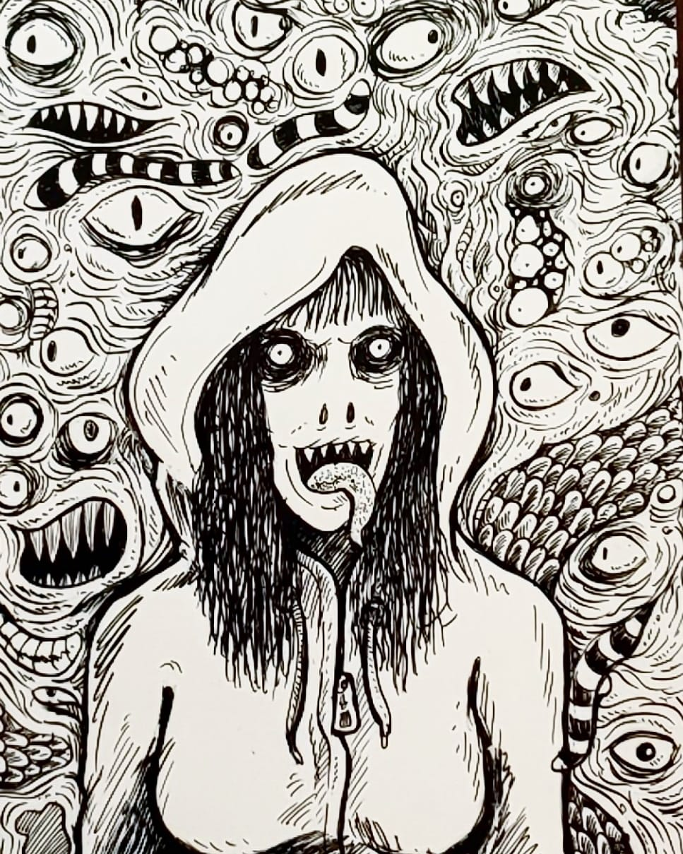Slit Mouth Woman in a Hoodie - Adam Yeater Header